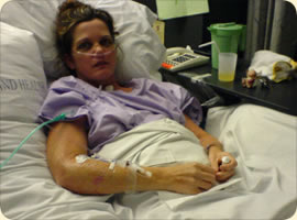 Sharon in the hospital, recovering